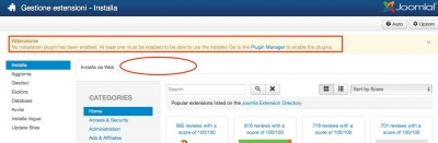 Joomla 3.6.x:No installation plugin has been enabled... SOLUZIONE IN ITALIANO